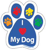 I Love My Dog Paw Print Magnet - blue/multi