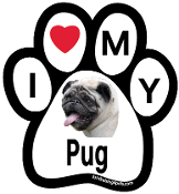 I Love My Pug Paw Print Magnet (fawn) - NEW!