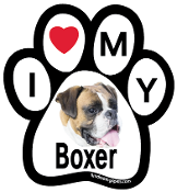 I Love My Boxer Paw Print Magnet - NEW!