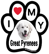 I Love My Great Pyrenees Paw Print Magnet - NEW!