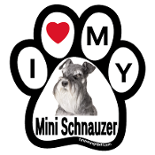I Love My Mini Schnauzer Paw Print Magnet - NEW!