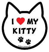 I Love My Kitty cat head magnet - NEW!