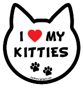 I Love My Kitties cat head magnet - NEW!