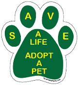 Save a Life Adopt a Pet Paw Print Magnet - Green