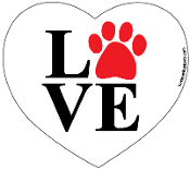 Love Paw Heart Magnet - White *NEW*
