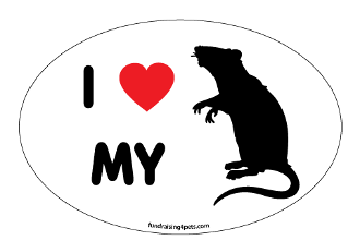 I Love My Rat Oval Magnet (silhouette) - NEW!