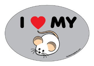 I Love My Rat Oval Magnet (cartoon) - NEW!
