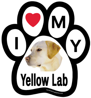 I Love My Yellow Lab Paw Print Magnet - NEW!