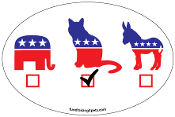 Vote Cat oval magnet - NEW!