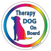Therapy Dog On Board Circle Magnet - White * NEW!