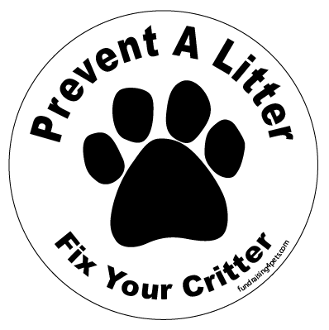 Prevent a Litter Fix Your Critter circle magnet - White * NEW!