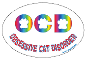 Obsessive Cat Disorder Oval Magnet - White/Rainbow *NEW*