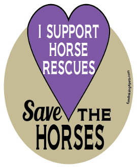 I Support Horse Rescues Save The Horses hoof magnet -purple*NEW*