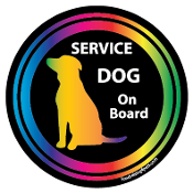 Service Dog On Board Circle Magnet - Black