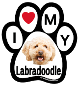 I Love My Labradoodle Paw Print Magnet - NEW!