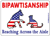 Bipawtisanship, Reaching Across the Aisle - cat/dog flag *NEW*