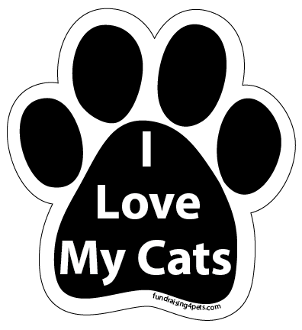 I Love My Cats paw magnet - black *NEW*