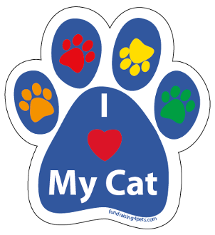 I Love My Cat paw magnet - blue/multi *NEW*