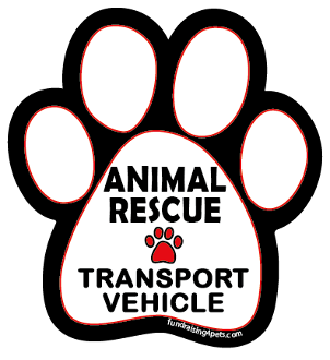 Animal Rescue Transport Vehicle paw magnet - white/black *NEW*