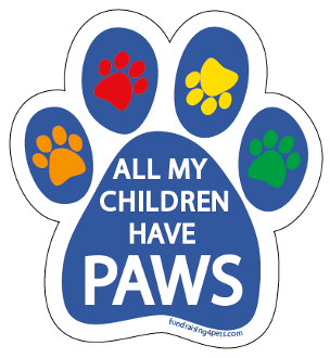 All My Children Have Paws Paw Print Magnet - Blue