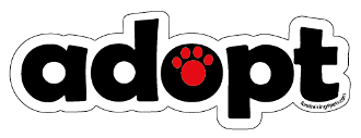 Adopt word magnet - Red accent paw *NEW*