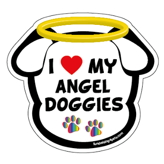 I Love My Angel Doggies dog head magnet - NEW!
