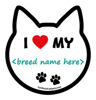 """I ♥ My"" Breed Cat Head Magnet - 48 breeds & counting! **NEW**"