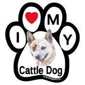 I Love My Cattle Dog Paw Print Magnet - NEW!
