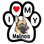 I Love My Malinois Paw Magnet - NEW!