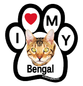 I Love My Bengal Paw Magnet - NEW!