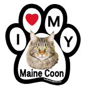 I Love My Maine Coon Paw Magnet - NEW!