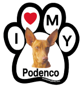 I Love My Podenco Paw Magnet - NEW!