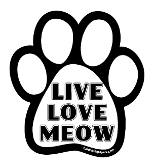 Live Love Meow paw magnet - white & black *NEW*