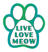 Live Love Meow paw magnet - white & blue-green *NEW*