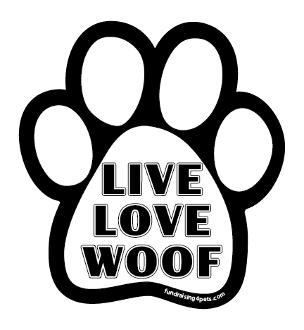 Live Love Woof paw magnet - white & black *NEW*
