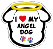 I Love My Angel Dog dog head magnet - NEW!