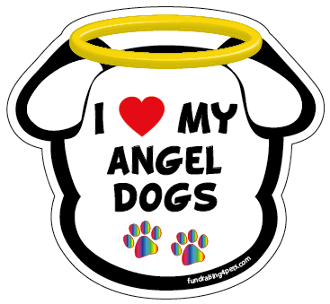 I Love My Angel Dogs dog head magnet - NEW!