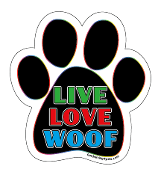 Live Love Woof paw magnet - black / multicolor / white *NEW*