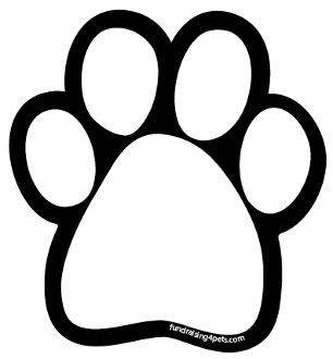 Plain White Paw Print Magnet With Black Background New