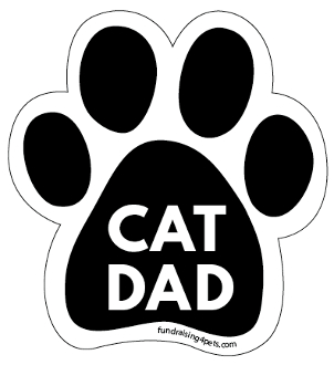 Cat Dad Paw Print Magnet - Black * NEW!