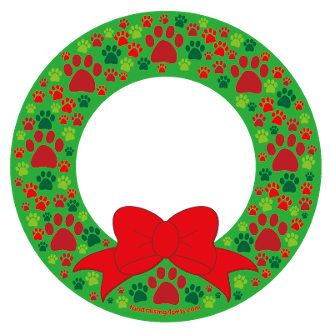 Christmas Paws Wreath Circle Magnet - NEW!