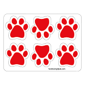 Mini Paw Magnets 6pk - Red *NEW*