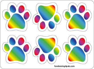 Mini Paw Magnets 6pk - Rainbow *NEW*