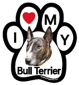 I Love My Bull Terrier Paw Magnet (brindle) - NEW!