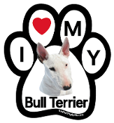 I Love My Bull Terrier Paw Magnet (white & red) - NEW!