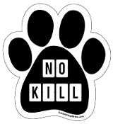 No Kill paw magnet -  blocks, black *NEW*