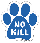 No Kill paw magnet -  caps, blue *NEW*