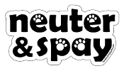 Neuter & Spay word magnet - white accent paws *NEW*