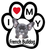 I Love My French Bulldog (black) Paw Magnet - NEW!