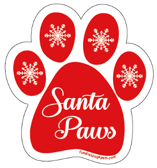 Santa Paws paw magnet (true red) - NEW!